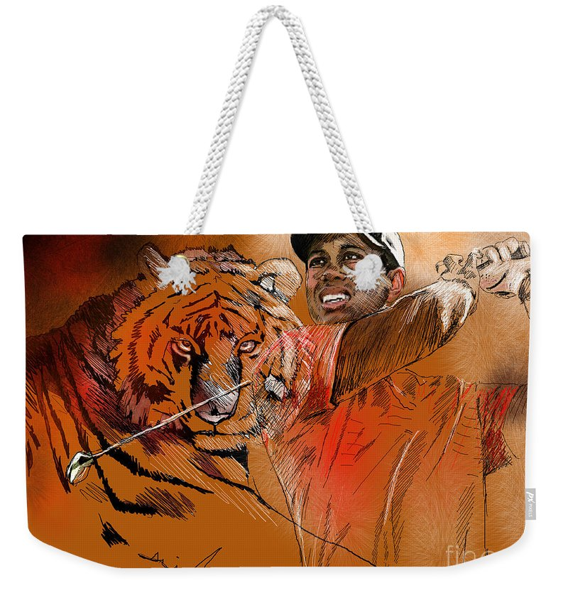 Golf Art Painting Portrait Tiger Woods Aninla Tiger Weekender Tote Bag featuring the painting Tiger Woods Or Earn Your Stripes by Miki De Goodaboom