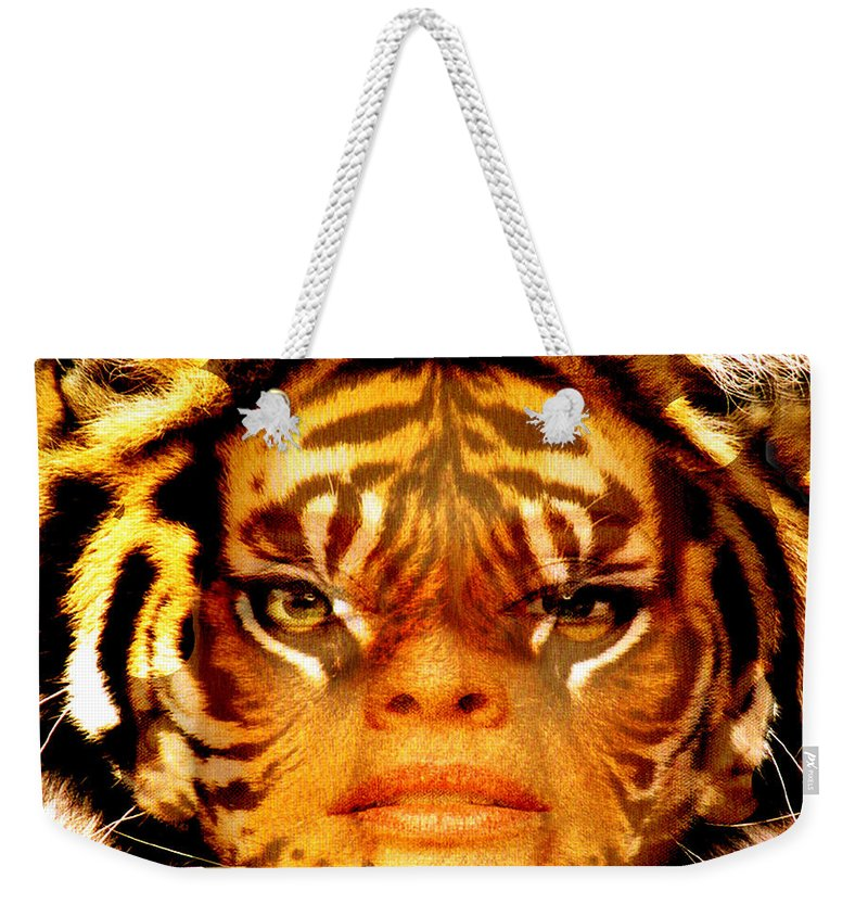 Tigress Weekender Tote Bag featuring the photograph Tigress by Seth Weaver