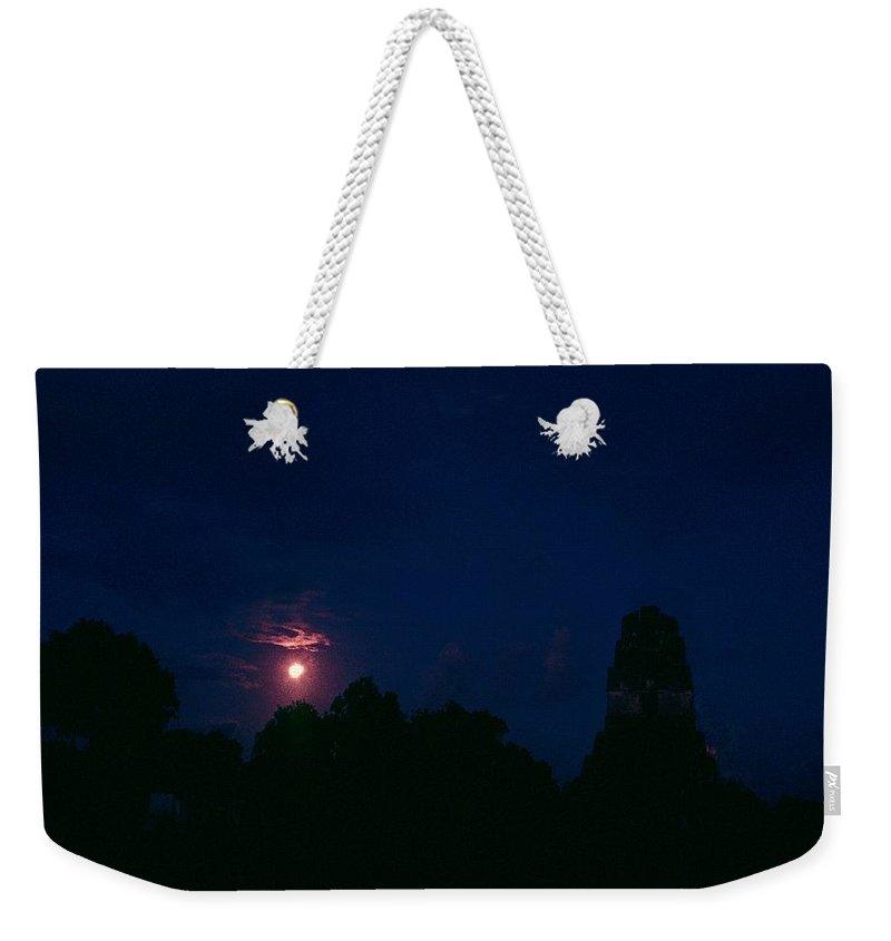 Tikal Weekender Tote Bag featuring the photograph Tikal Guatemala Full Moon by Gary Wonning