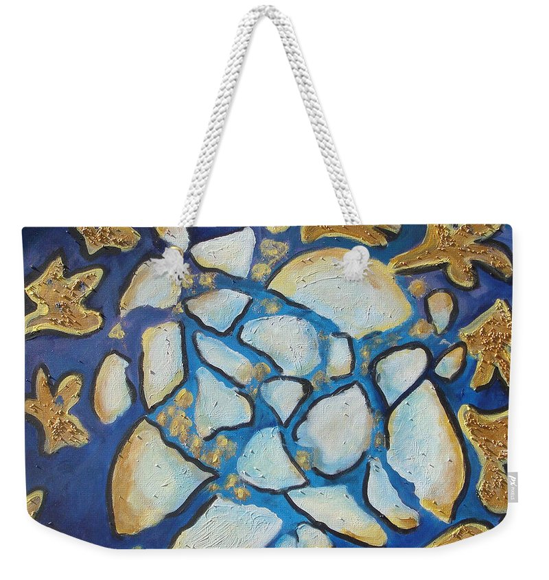 Abstract Weekender Tote Bag featuring the painting Tikkun Olam Heal The World by Laurie Morgan