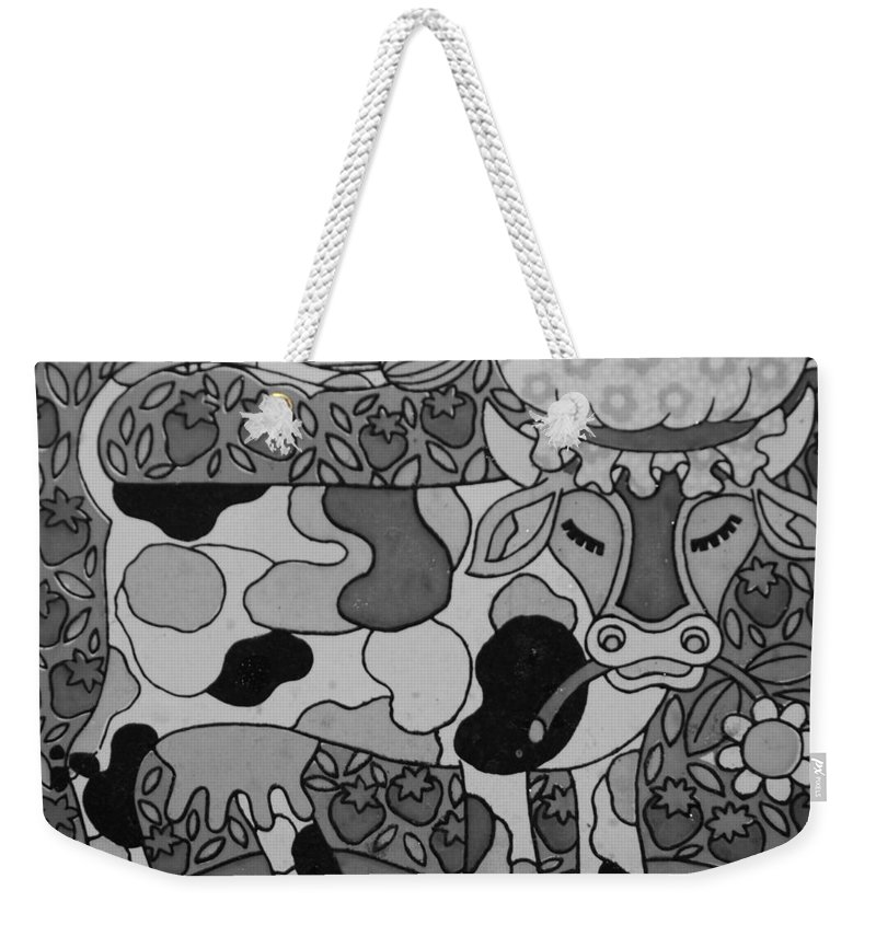 Pop Art Weekender Tote Bag featuring the photograph Tile Cow by Rob Hans