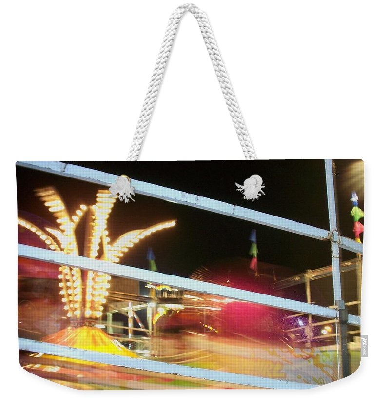 State Fair Weekender Tote Bag featuring the photograph Tilt-a-whirl 2 by Anita Burgermeister