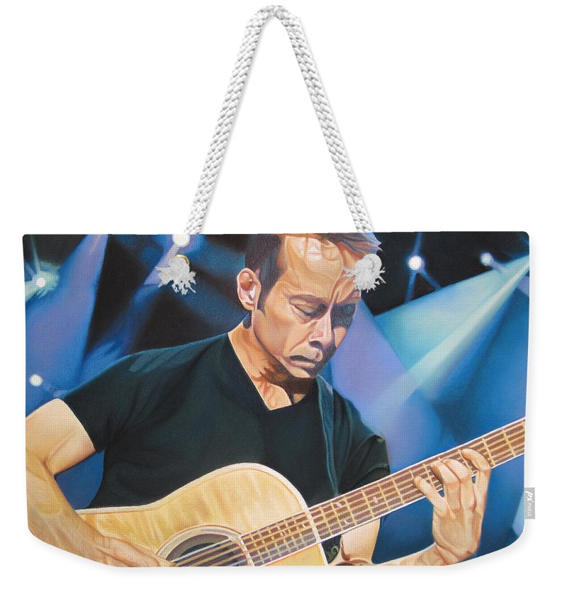 Tim Reynolds Weekender Tote Bag featuring the drawing Tim Reynolds And Lights by Joshua Morton