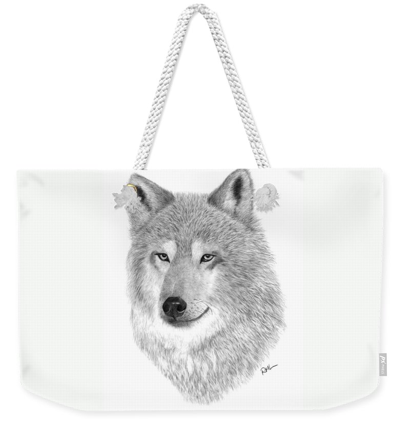 Wolf Drawing Weekender Tote Bag featuring the drawing Timber Wolf by Rosanna Maria