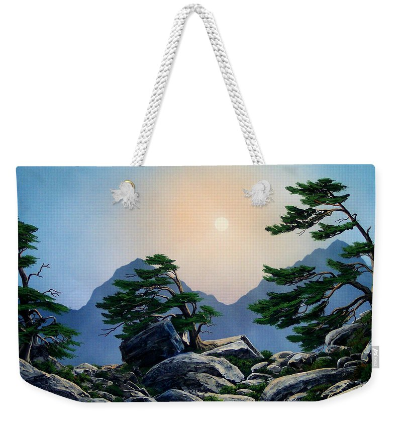 Timberline Guardians Weekender Tote Bag featuring the painting Timberline Guardians by Frank Wilson