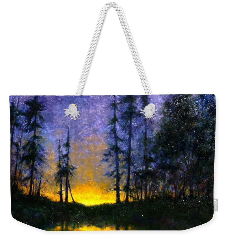 Landscape. Nocturn Weekender Tote Bag featuring the painting Timberline by Jim Gola