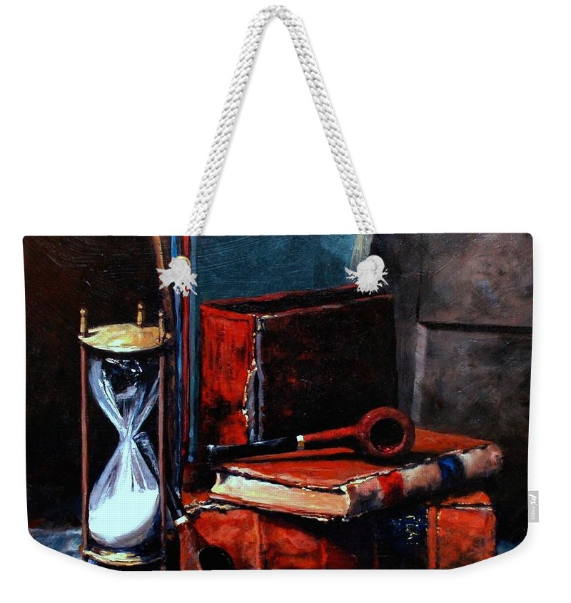 Still Life Painting Weekender Tote Bag featuring the painting Time And Old Friends by Jim Gola