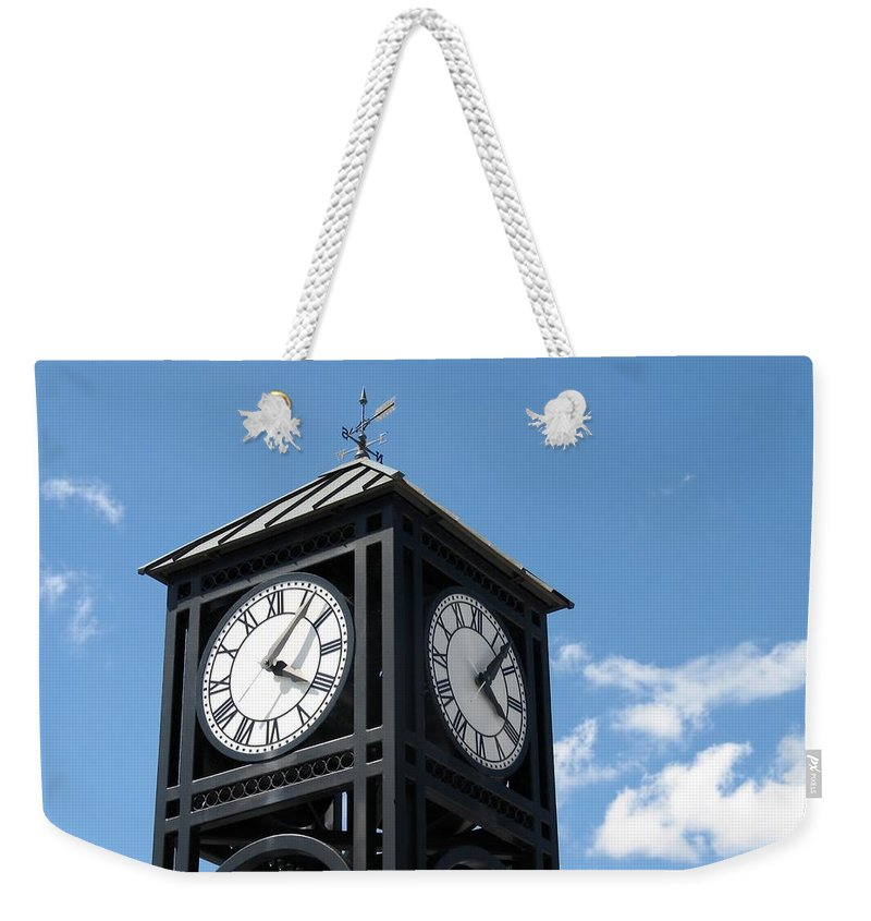 Clock Weekender Tote Bag featuring the photograph Time And Time Again by Ann Horn