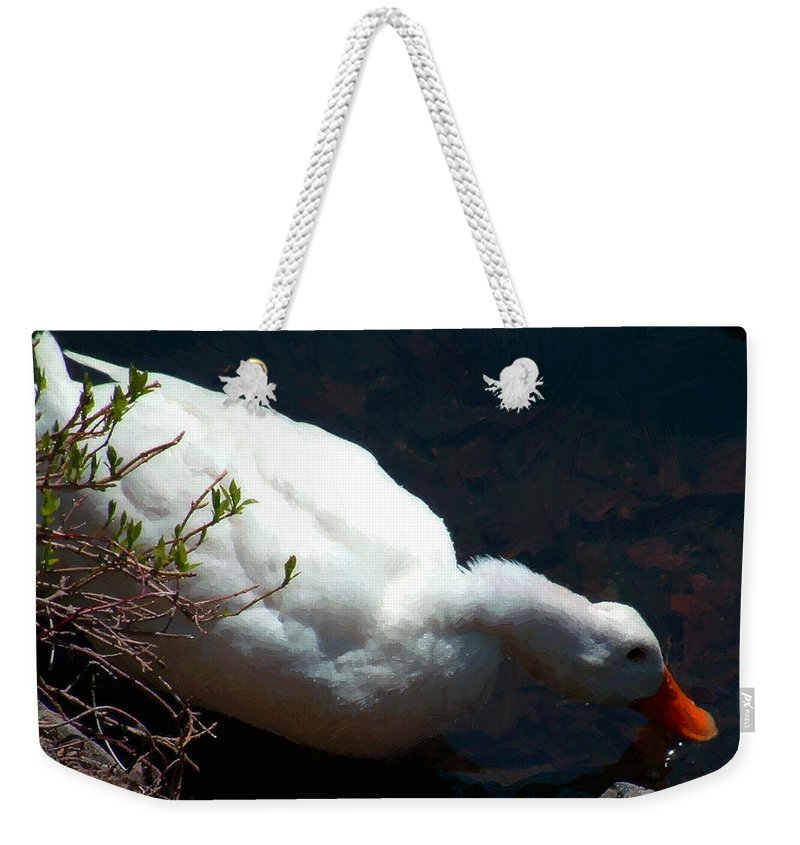 Duck Weekender Tote Bag featuring the painting Time For A Drink by RC DeWinter