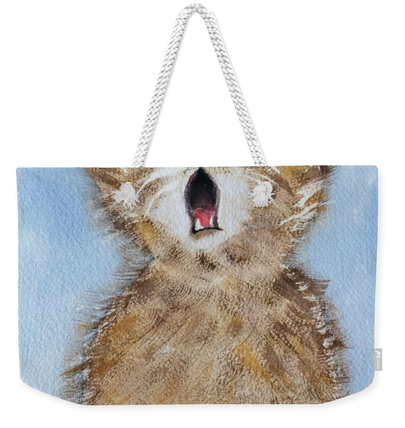 Cat Weekender Tote Bag featuring the painting Time For Bed by Gail Grundberg Judd