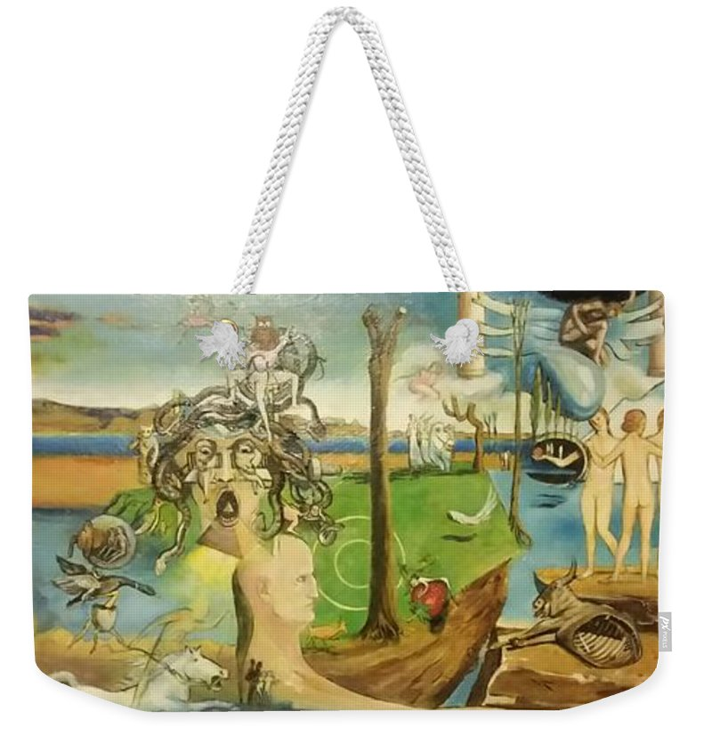 Contact Me At667-228-1088 Weekender Tote Bag featuring the painting Time Immutable, Orions Belt, And The New Madrid Straight by Jude Darrien