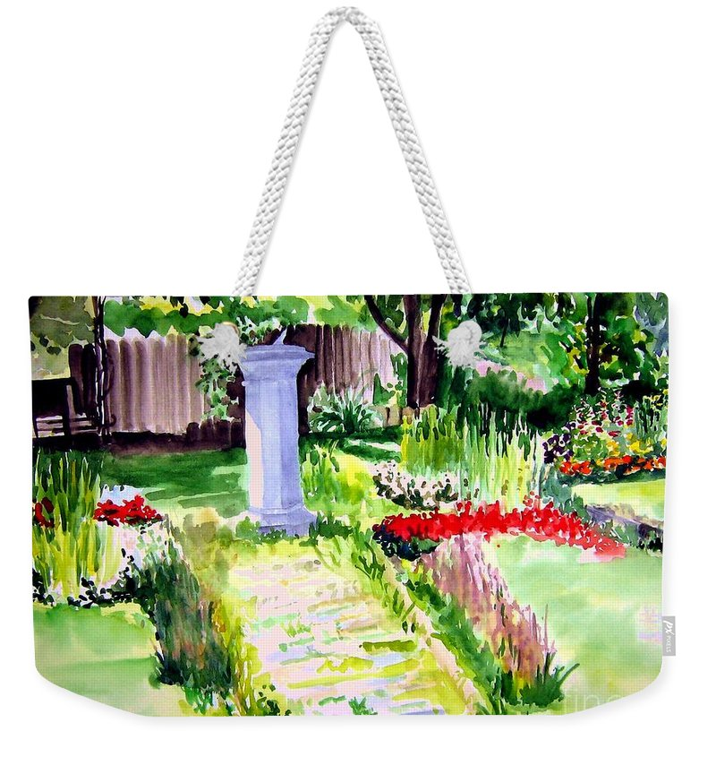 Park Weekender Tote Bag featuring the painting Time In A Garden by Sandy Ryan