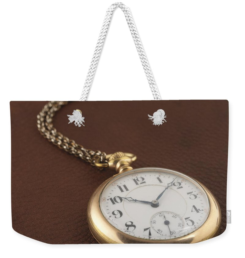 Pocket Watch Weekender Tote Bag featuring the photograph Time by Jerry McElroy