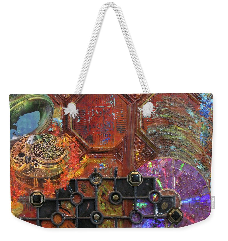 Assemblage Painting Weekender Tote Bag featuring the painting Time Passage I by Elaine Booth-Kallweit