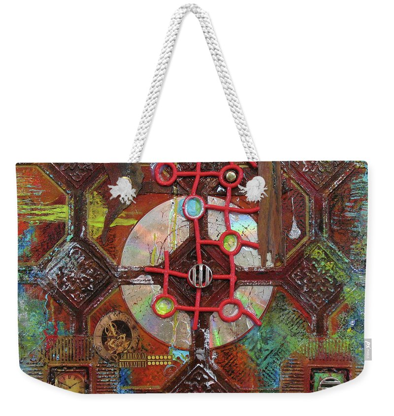 Assemblage Painting Weekender Tote Bag featuring the painting Time Passage II by Elaine Booth-Kallweit