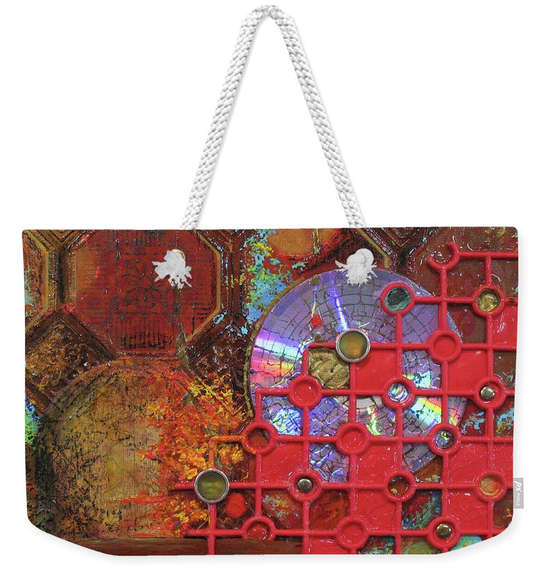 Assemblage Painting Weekender Tote Bag featuring the painting Time Passage III by Elaine Booth-Kallweit
