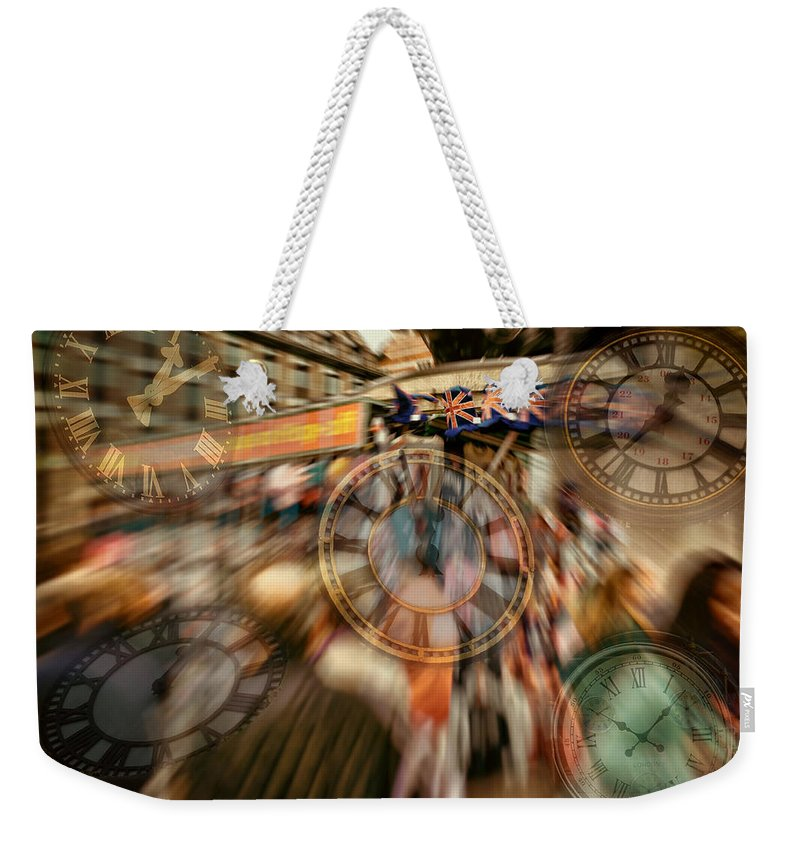 Clocks Weekender Tote Bag featuring the digital art Time Piece by Leigh Kemp