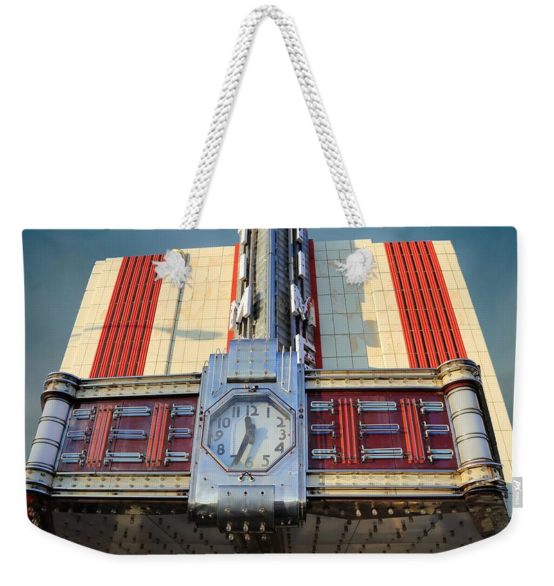 Theresa Campbell Weekender Tote Bag featuring the photograph Time Theater Marquee 1938 by Theresa Campbell