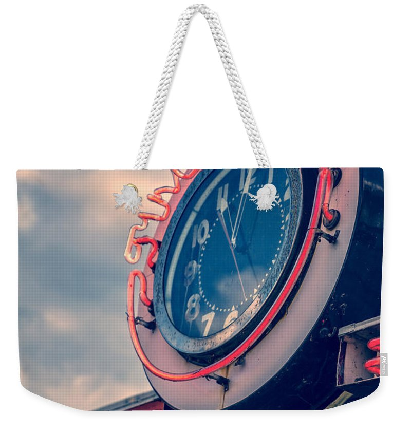 Quechee Weekender Tote Bag featuring the photograph Time To Eat Neon Diner Clock by Edward Fielding