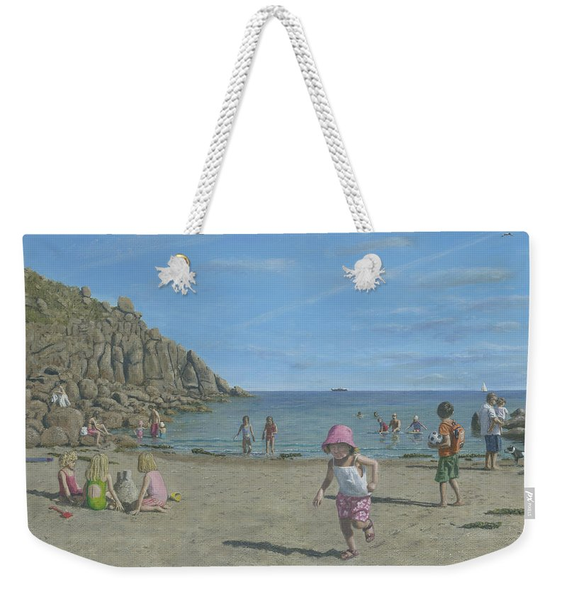 Seascape Weekender Tote Bag featuring the painting Time To Go Home - Porthgwarra Beach Cornwall by Richard Harpum