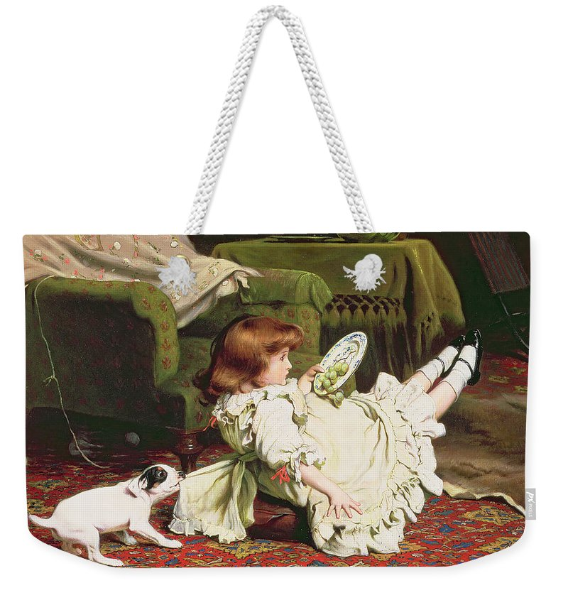 Naughty Weekender Tote Bag featuring the painting Time To Play by Charles Burton Barber