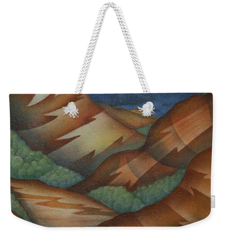 Mountains Weekender Tote Bag featuring the painting Time To Seek Shelter by Jeniffer Stapher-Thomas