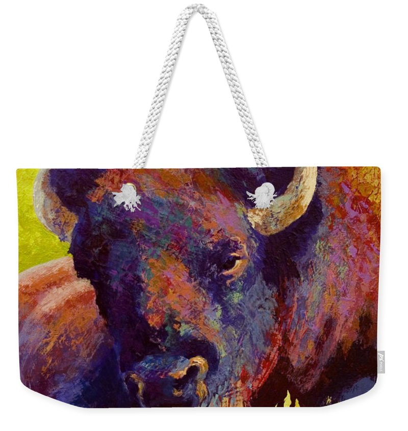 Bison Weekender Tote Bag featuring the painting Timeless Spirit by Marion Rose