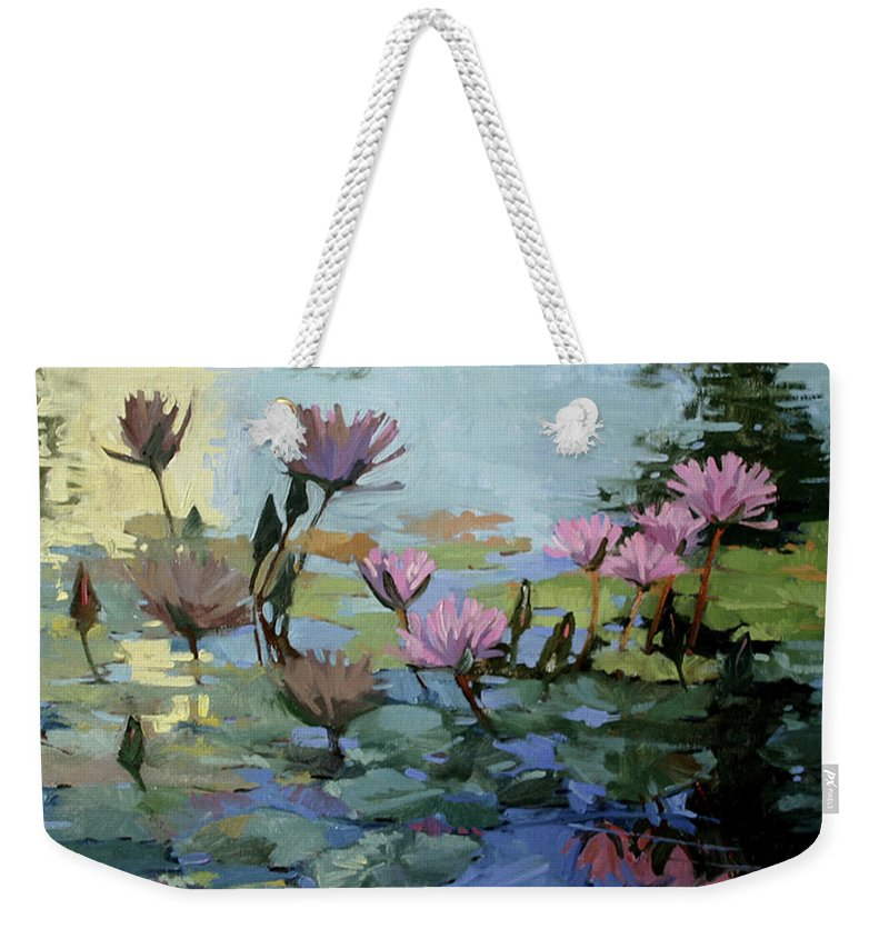 Floral Weekender Tote Bag featuring the painting Times Between - water Lilies by Betty Jean Billups