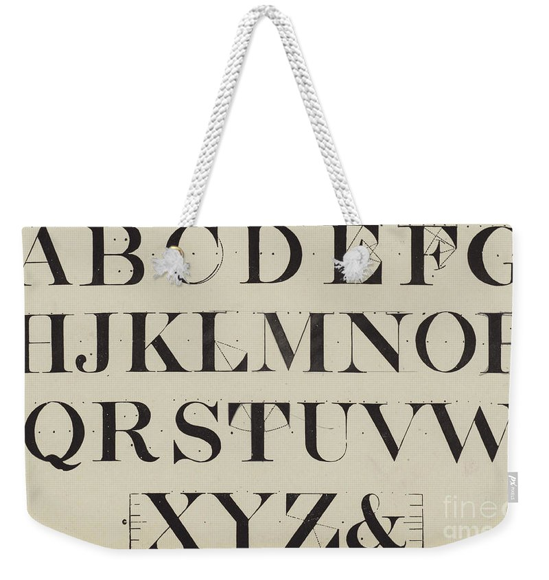 Roman Analytical Weekender Tote Bag featuring the drawing Times New Roman by English School