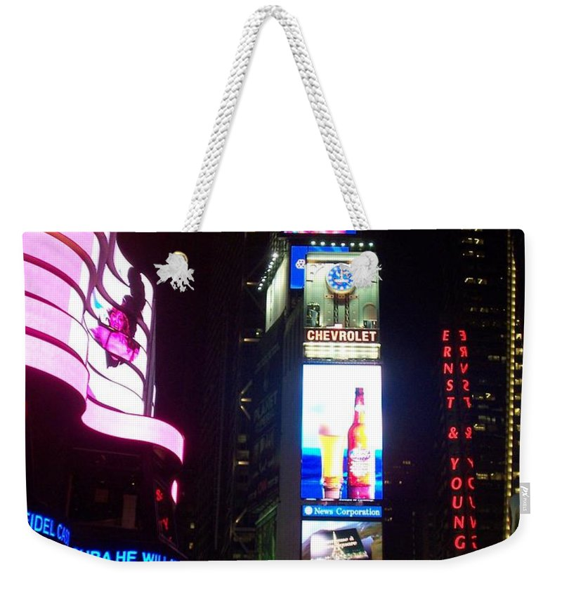 Times Square Weekender Tote Bag featuring the photograph Times Square 1 by Anita Burgermeister