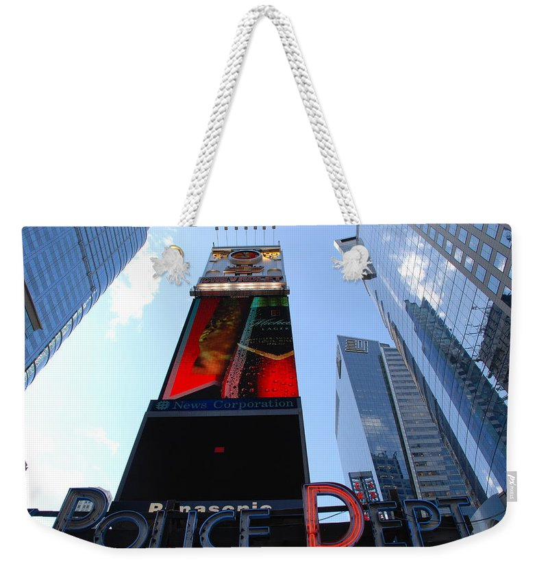 Times Square Weekender Tote Bag featuring the photograph Times Square Cops by Rob Hans