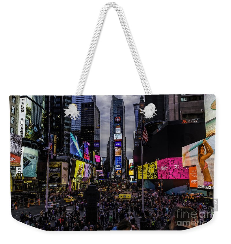 City Weekender Tote Bag featuring the photograph Times Square From The Steps by Nick Zelinsky