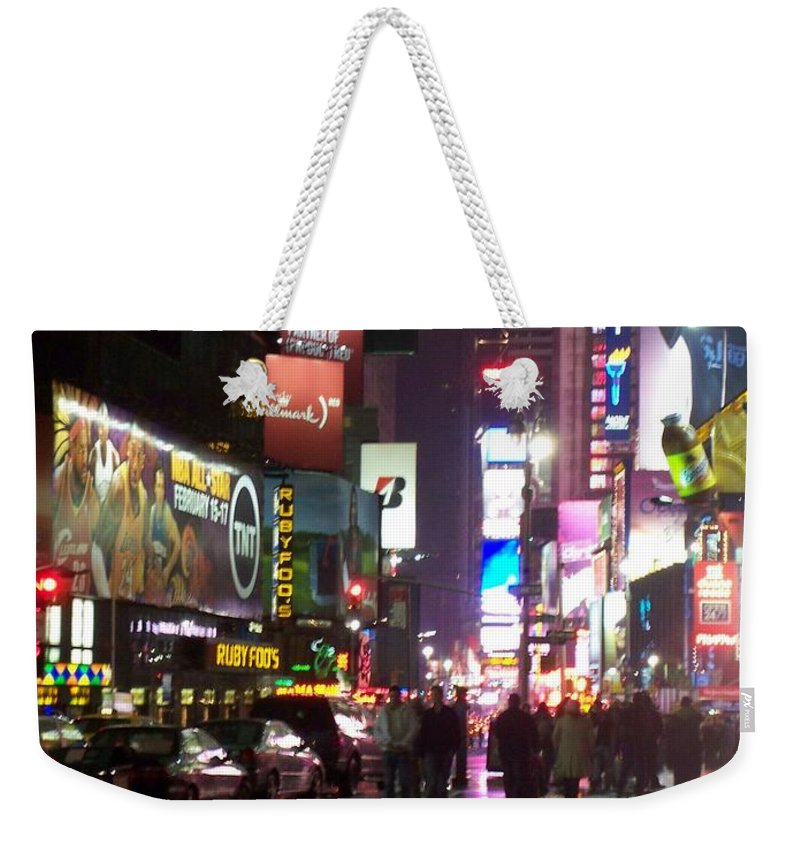 Times Square Weekender Tote Bag featuring the photograph Times Square In The Rain 1 by Anita Burgermeister