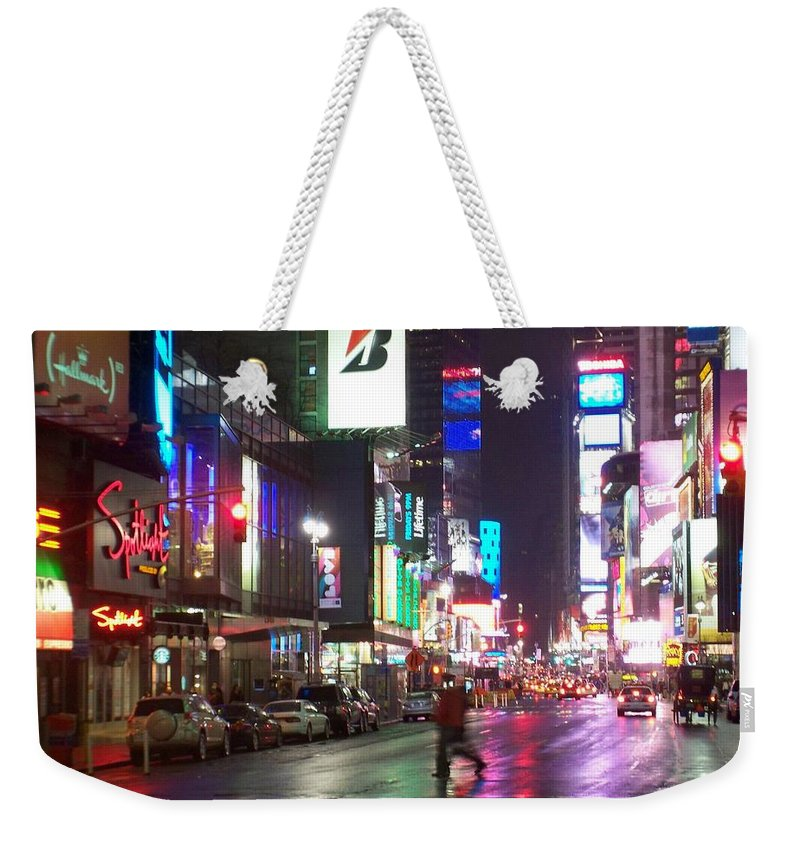 Times Square Weekender Tote Bag featuring the photograph Times Square In The Rain 2 by Anita Burgermeister