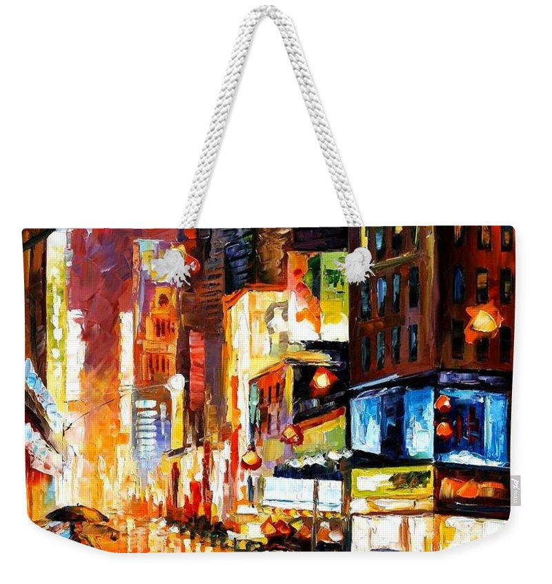 City Weekender Tote Bag featuring the painting Times Square by Leonid Afremov