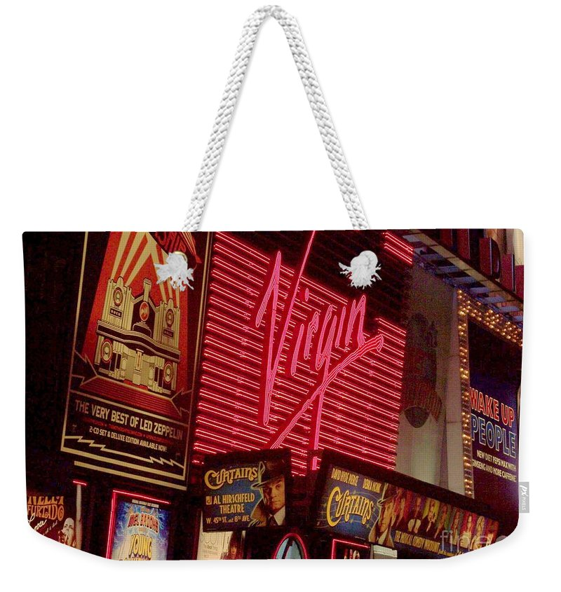 Times Square Weekender Tote Bag featuring the photograph Times Square Night by Debbi Granruth