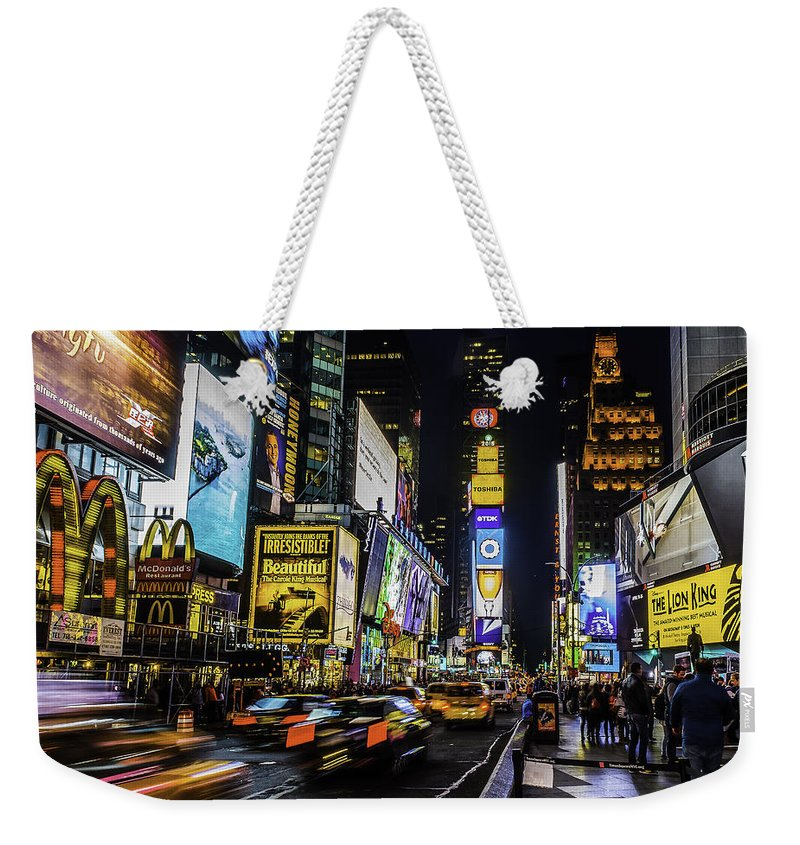City Weekender Tote Bag featuring the photograph Times Square Traffic by Nick Zelinsky