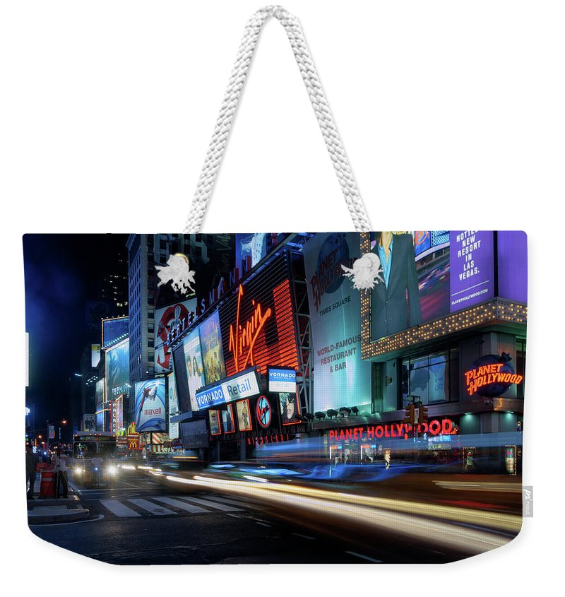 Nightscape Weekender Tote Bag featuring the photograph Times Square With Light Trail by Ger Determan