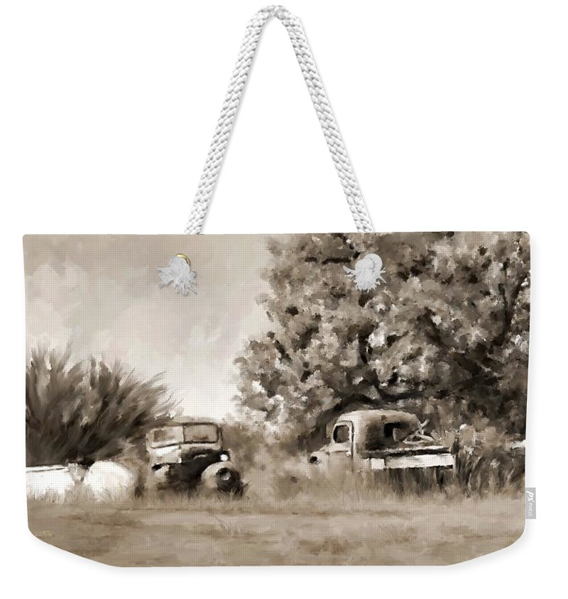 Timeworn Weekender Tote Bag featuring the painting Timeworn by Susan Kinney