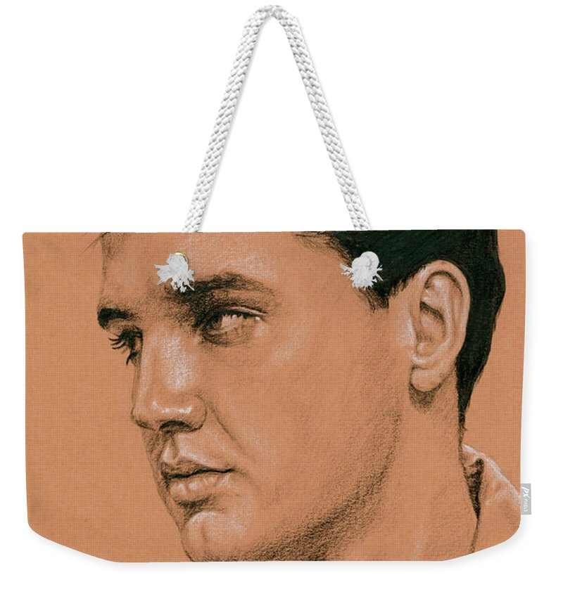 Elvis Weekender Tote Bag featuring the drawing Timex Special Rehearsals by Rob De Vries