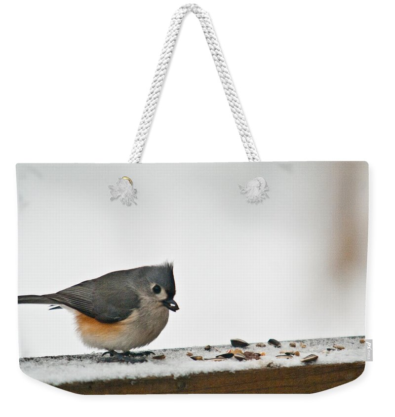 Tufted Weekender Tote Bag featuring the photograph Timouse Eating Seads by Douglas Barnett