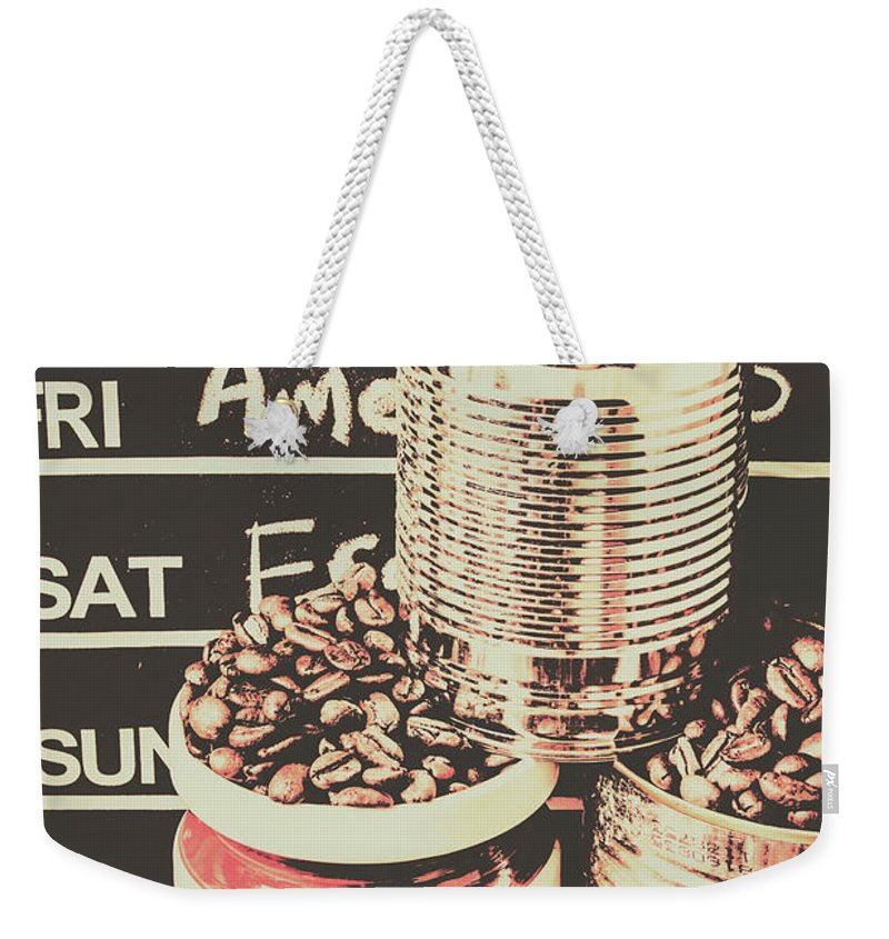 Brown Weekender Tote Bag featuring the photograph Tin Signs And Coffee Shops by Jorgo Photography - Wall Art Gallery