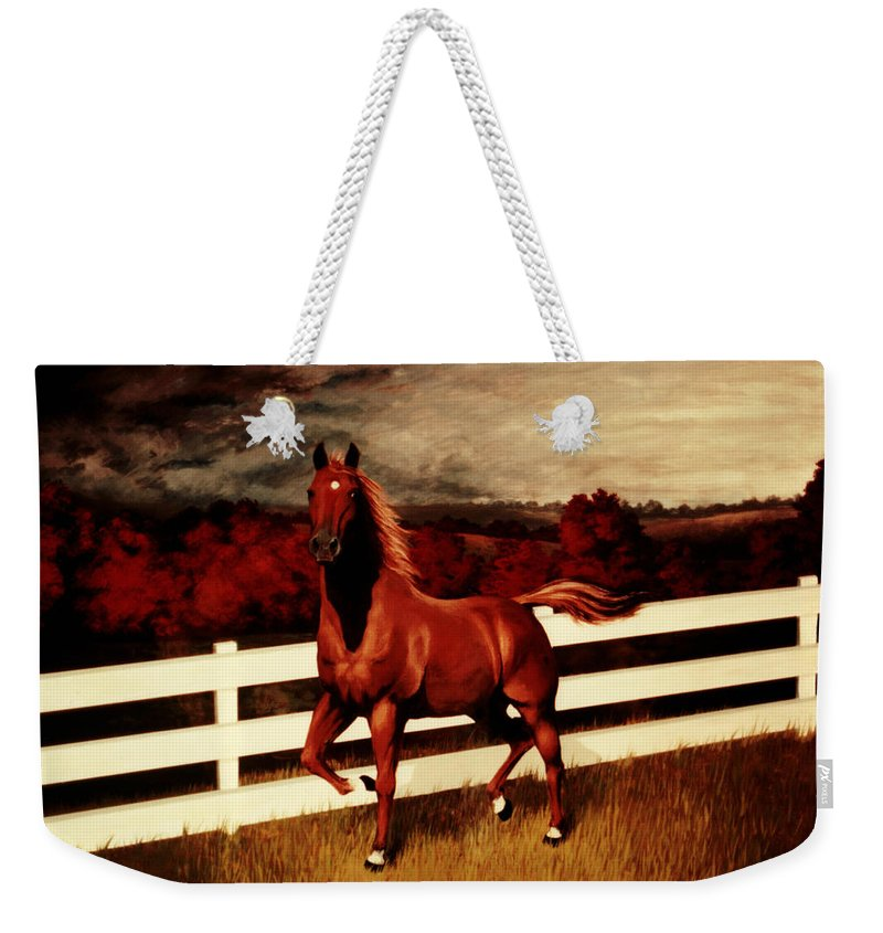 Landscape Weekender Tote Bag featuring the painting Tink by Rachel Christine Nowicki