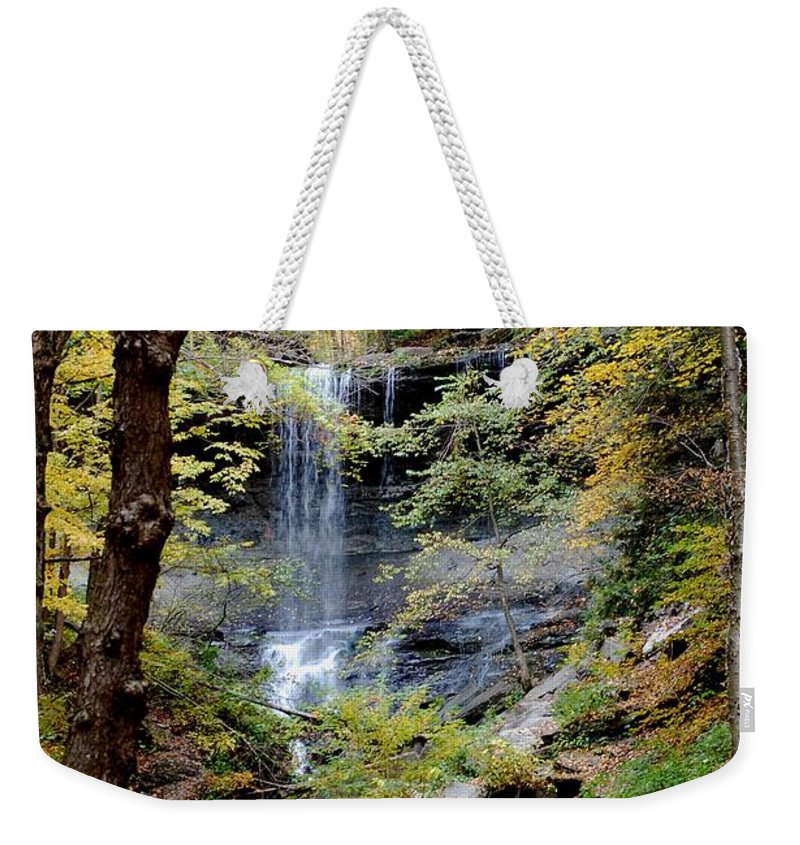 Digital Photograph Weekender Tote Bag featuring the photograph Tinker Falls by David Lane