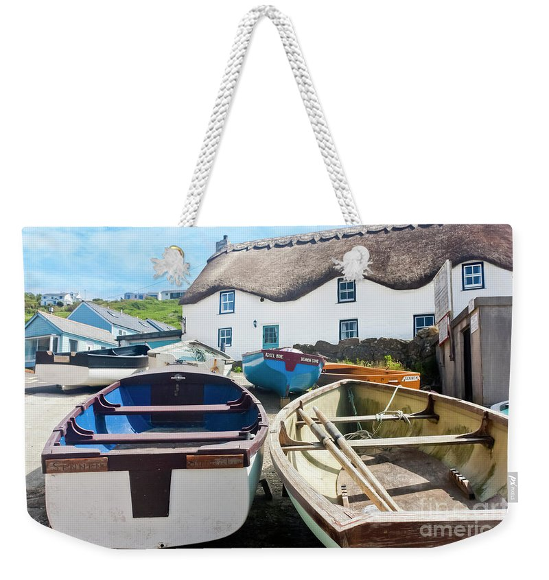 Tinker Taylor Cottage Sennen Cove Weekender Tote Bag featuring the photograph Tinker Taylor Cottage Sennen Cove Cornwall by Terri Waters