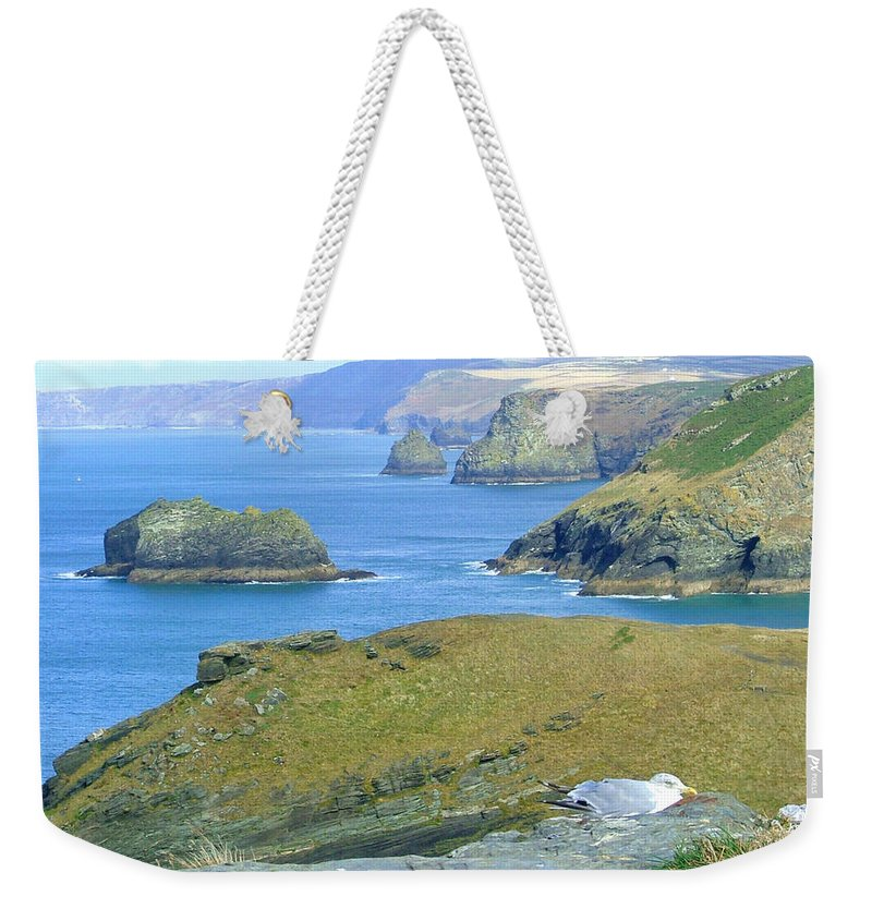 Cornwall Weekender Tote Bag featuring the photograph Tintagel by Heather Lennox