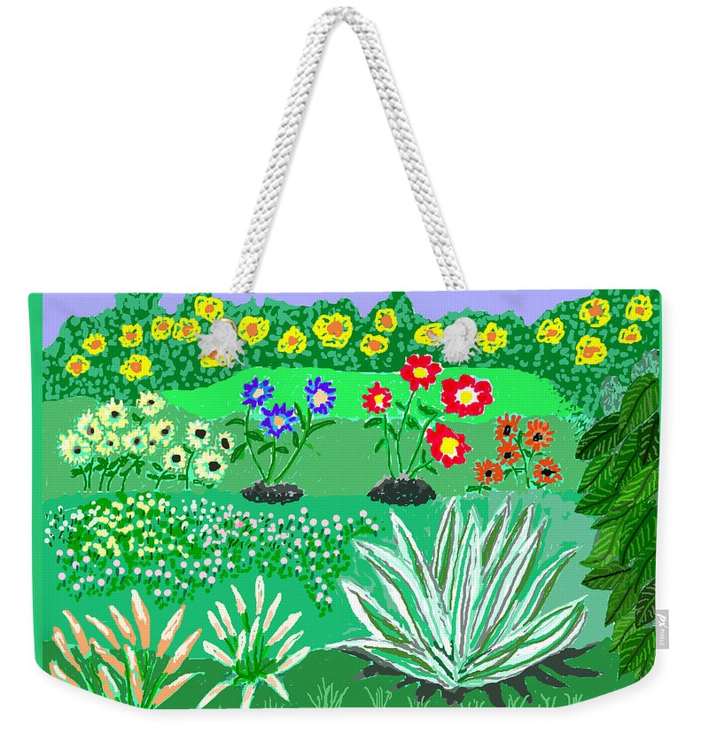 Floral Weekender Tote Bag featuring the painting Tiny Garden by Fred Jinkins