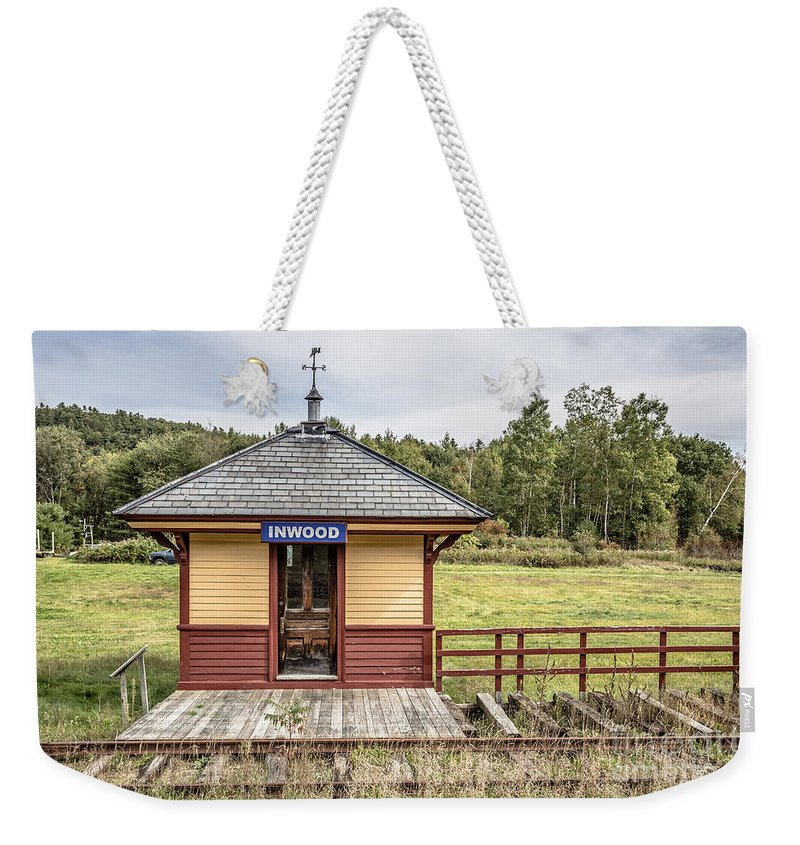 Fall Weekender Tote Bag featuring the photograph Tiny Train Station Barnet Vermont by Edward Fielding