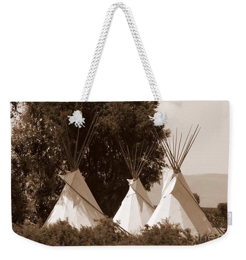 Tipis Weekender Tote Bag featuring the photograph Tipis In Toppenish by Carol Groenen