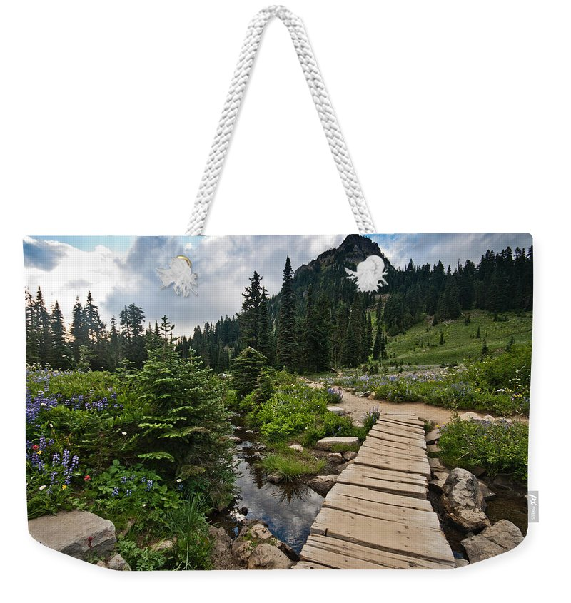 Mount Rainier National Park Weekender Tote Bag featuring the photograph Tipsoo Meadows #2 by Robert J Caputo